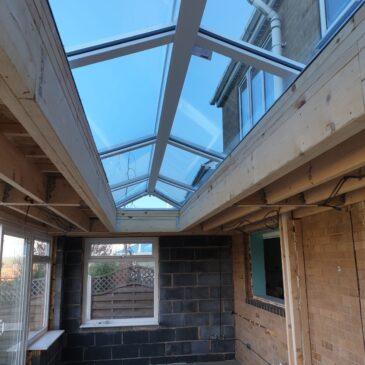 Orangery roof install in progress