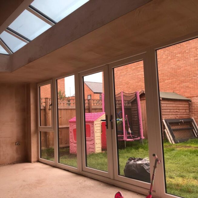 Freshly plastered conservatory interior